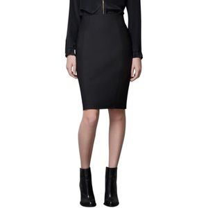 Zara Woman Black High Waist Side Zip Pencil Skirt